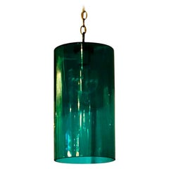 Cylindrical Emerald Green Murano Glass with Brass Accents Pendant / Chandelier