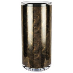 Cylindrical Hand Silk Screen Printed Italian Glass Vase by Karim Rashid