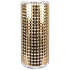 Cylindrical Handmade Decorated with 24-Karat Gold Italian Glass Vase