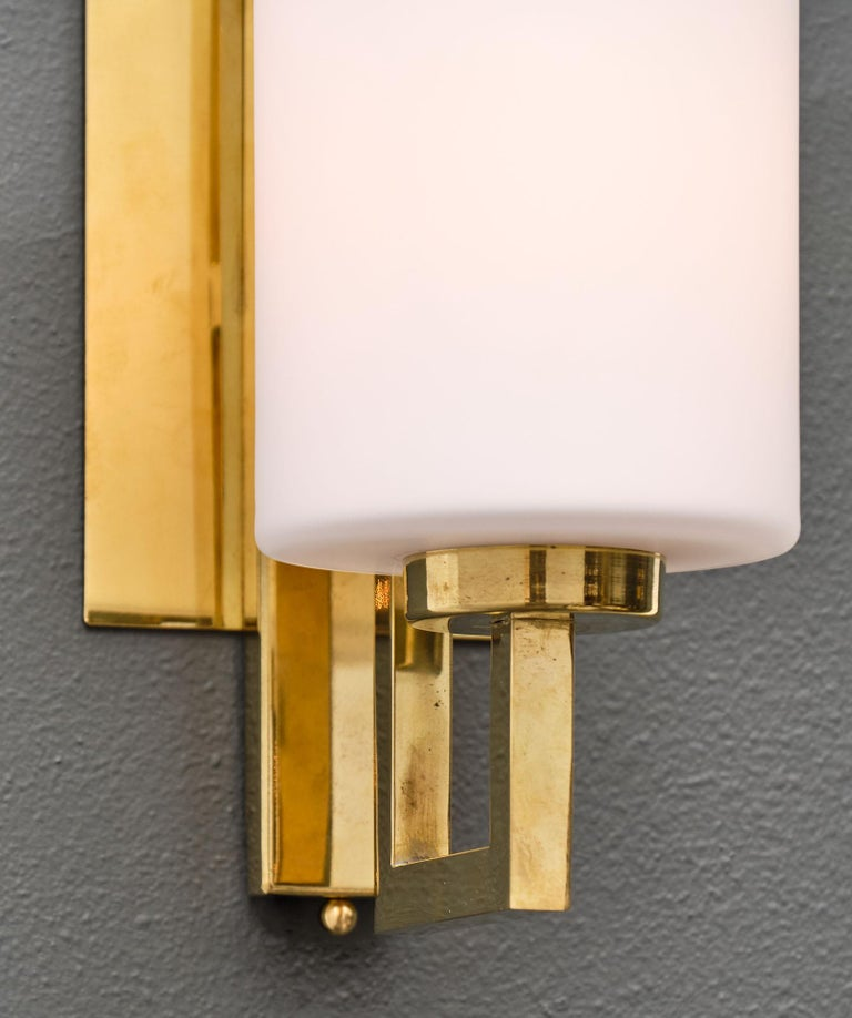Brass Cylindrical Murano Glass Sconces For Sale
