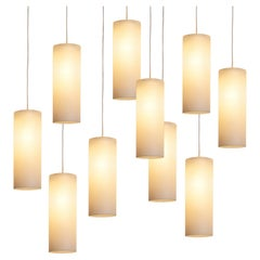 Cylindrical Pendant Lamps in Matted Glass