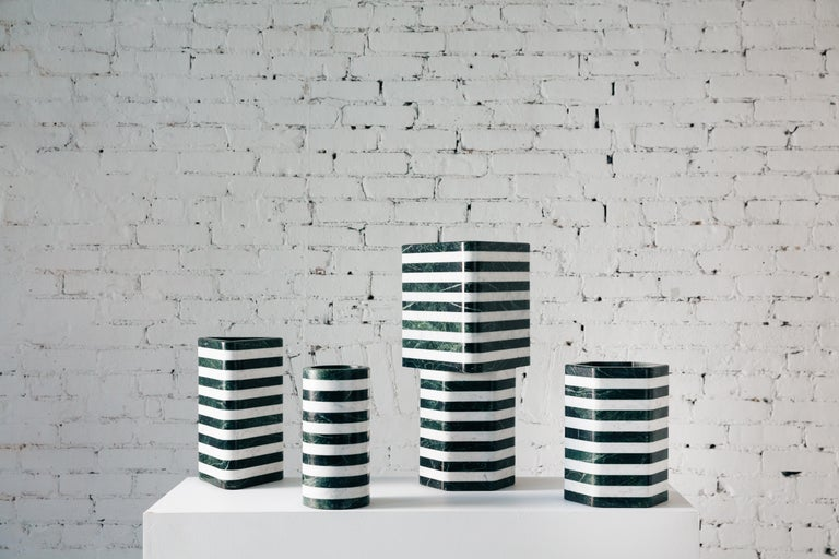 American Contemporary Cylindrical Stacked Stone Vessel, Marble by Fort Standard, in Stock For Sale