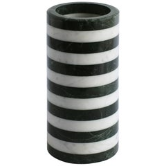 Contemporary Cylindrical Stacked Stone Vessel, Marble by Fort Standard, in Stock