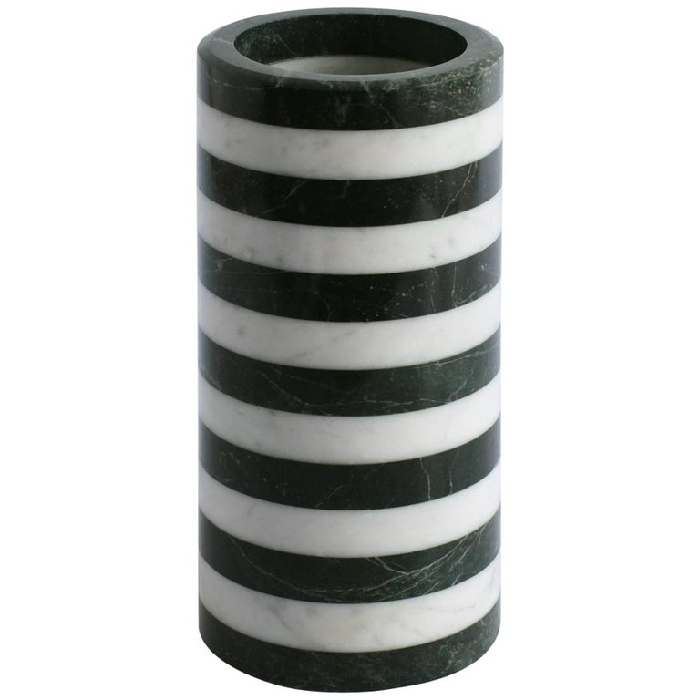 Contemporary Cylindrical Stacked Stone Vessel, Marble by Fort Standard, in Stock For Sale