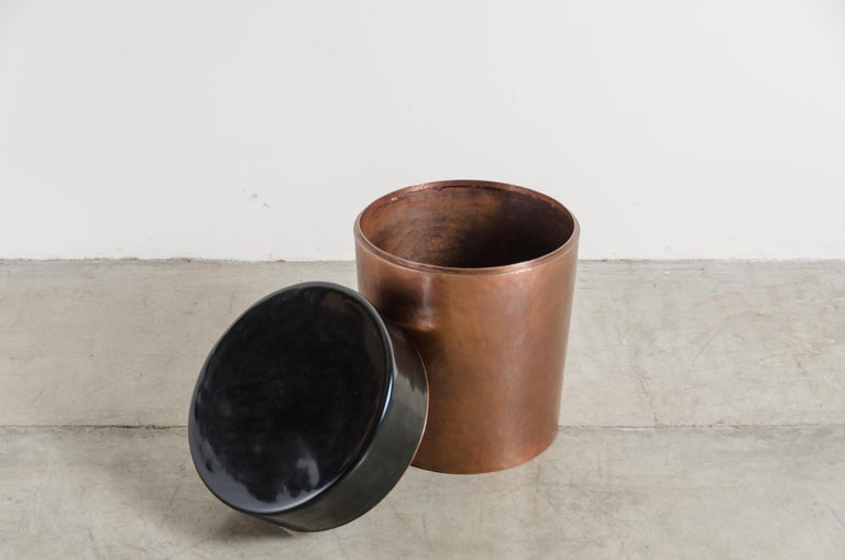 Repoussé Cylindrical Storage Drumstool, Antique Copper and Black Lacquer by Robert Kuo For Sale
