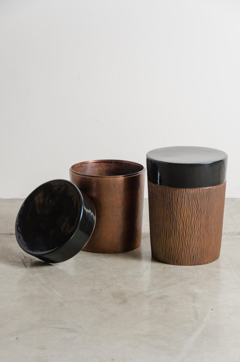 Cylindrical Storage Drumstool, Antique Copper and Black Lacquer by Robert Kuo In New Condition For Sale In West Hollywood, CA
