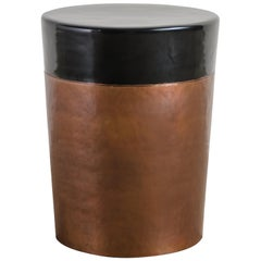 Cylindrical Storage Drumstool, Antique Copper and Black Lacquer by Robert Kuo