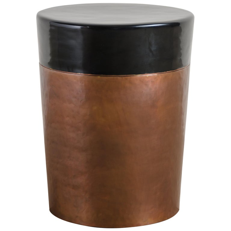 Cylindrical Storage Drumstool, Antique Copper and Black Lacquer by Robert Kuo For Sale