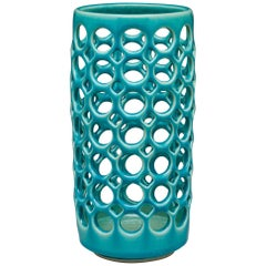 Cylindrical Tabletop Vessel Turquoise Crackle