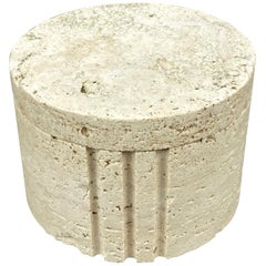 Cylindrical Travertine Box by Fratelli Mannelli, Italy, 1970s