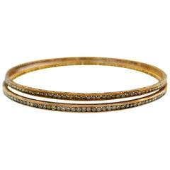 Cynthia Bach Diamond Rose Gold Bangle Bracelet, Pair
