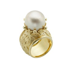 Cynthia Bach Golden Pearl and 18 Karat Yellow Gold Ring