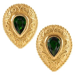 Cynthia Bach Pear-Shaped Tsavorite Garnet Earrings