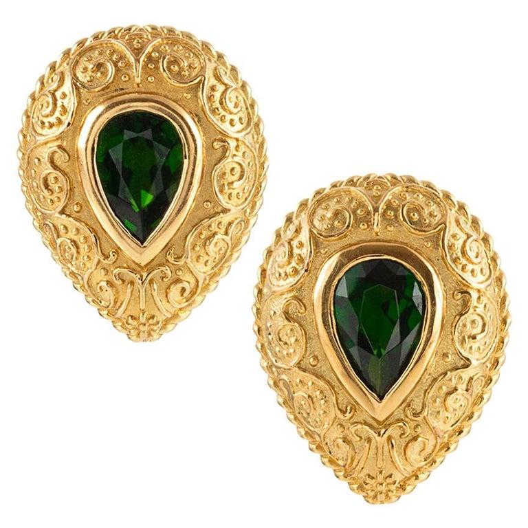 Cynthia Bach Pear-Shaped Tsavorite Garnet Earrings For Sale