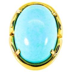 Cynthia Back Turquoise Gold Ring