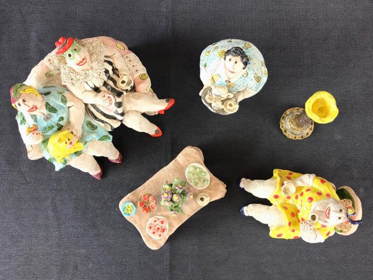 "Cynthia Hipkiss ""Four Ladies at Tea"" Five-Piece Ceramic Sculpture, 1987 For Sale 14"