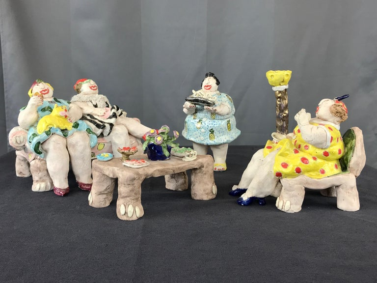 """Cynthia Hipkiss """"Four Ladies at Tea"""" Five-Piece Ceramic Sculpture, 1987 In Good Condition For Sale In San Francisco, CA"""