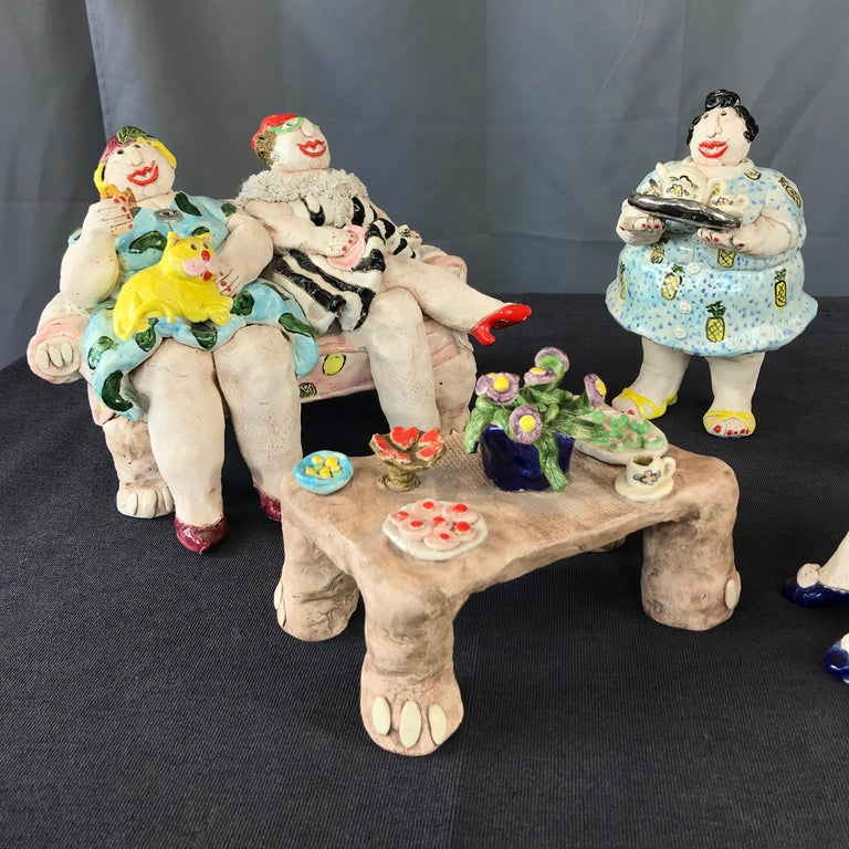 """Late 20th Century Cynthia Hipkiss """"Four Ladies at Tea"""" Five-Piece Ceramic Sculpture, 1987 For Sale"""
