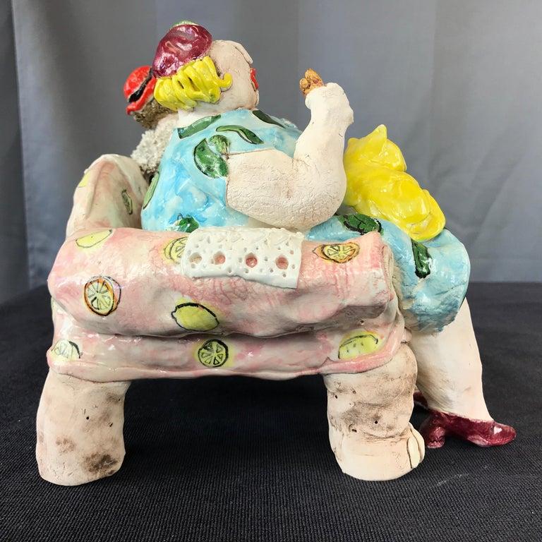 "Cynthia Hipkiss ""Four Ladies at Tea"" Five-Piece Ceramic Sculpture, 1987 For Sale 3"