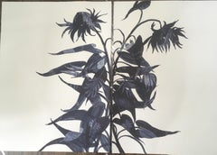 Charmed and Stance Monotype, Botanical, works on paper, Dark Blue, One of a kind