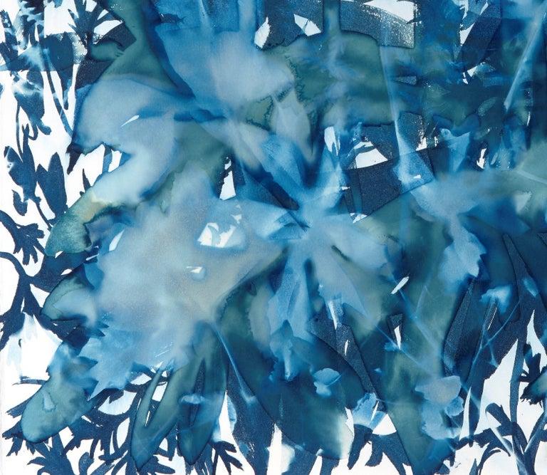 Ephemeral 1, Botanical,  Floral, Cyanotype, Blue, Work on Paper, Flowers - Contemporary Print by Cynthia MacCollum