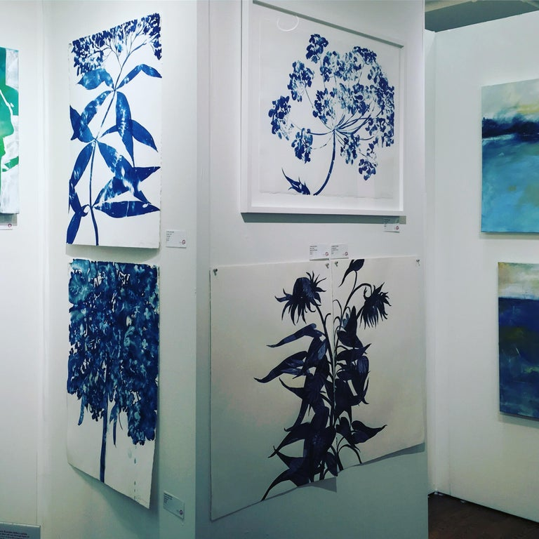 Ephemeral 1 is a wet cyanotype Work on paper by Cynthia MacCollum.  This original artwork is 30x22 on archival paper.  It is currently unframed.  Macollum uses actual plants and flowers as part of her creative process.  It is a one of a kind artwork