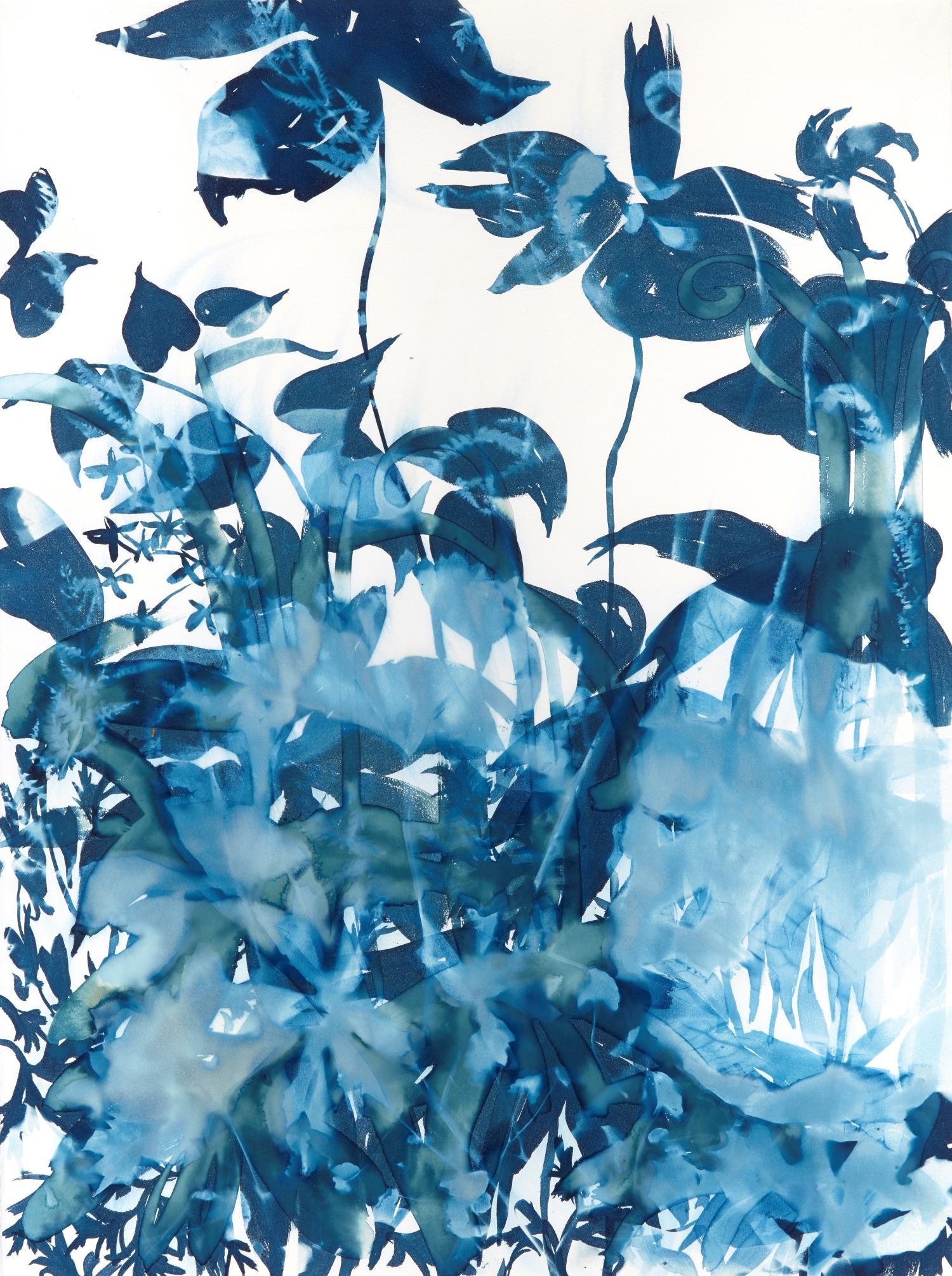 Ephemeral 1, Botanical,  Floral, Cyanotype, Blue, Work on Paper, Flowers