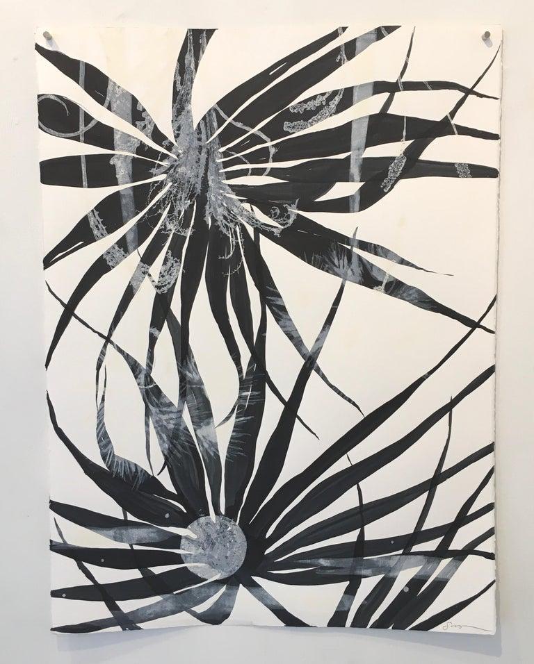 High Tide, a mixed media monotype, botanical, dark blue, unframed - Print by Cynthia MacCollum