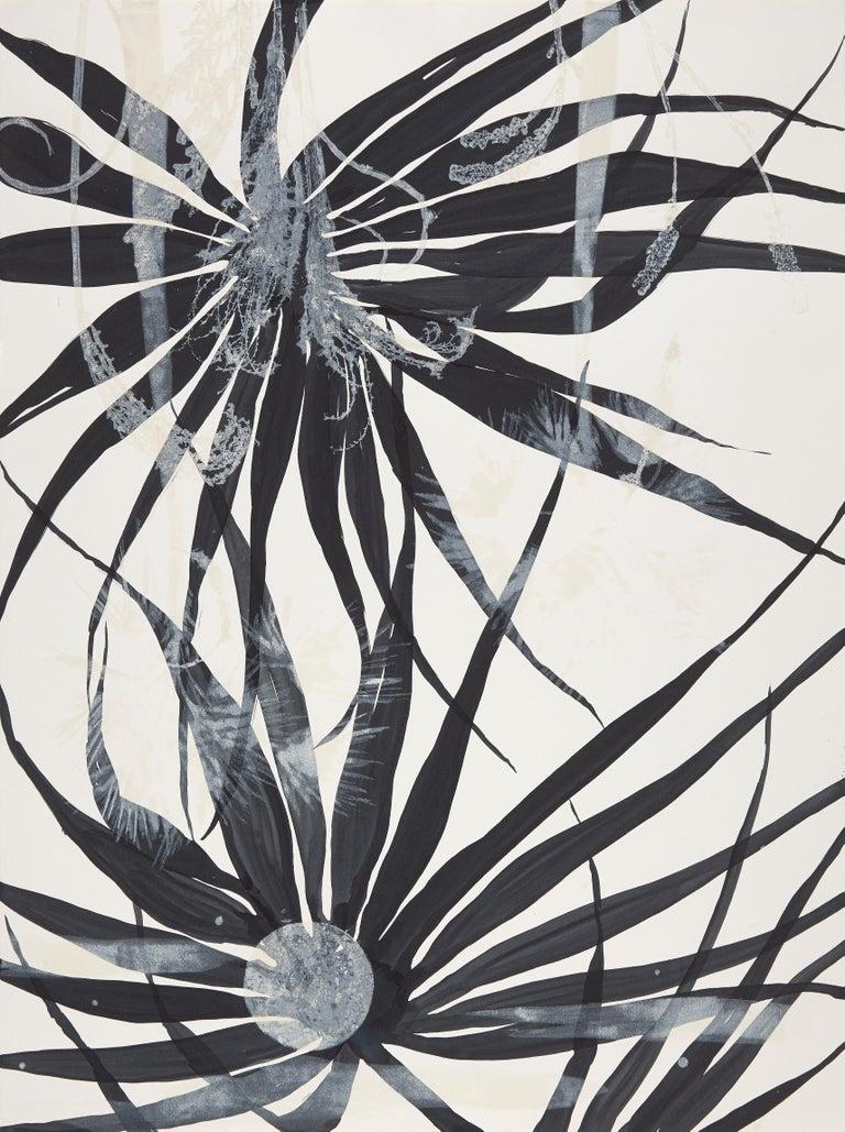 Cynthia MacCollum Landscape Print - High Tide, a mixed media monotype, botanical, dark blue, unframed