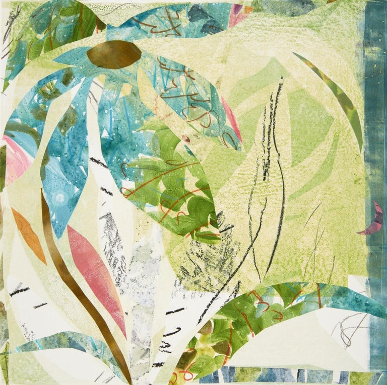 Largo, Botanical, Floral, Mixed Media, Work on Paper, Flowers, colorful, blue - Mixed Media Art by Cynthia MacCollum