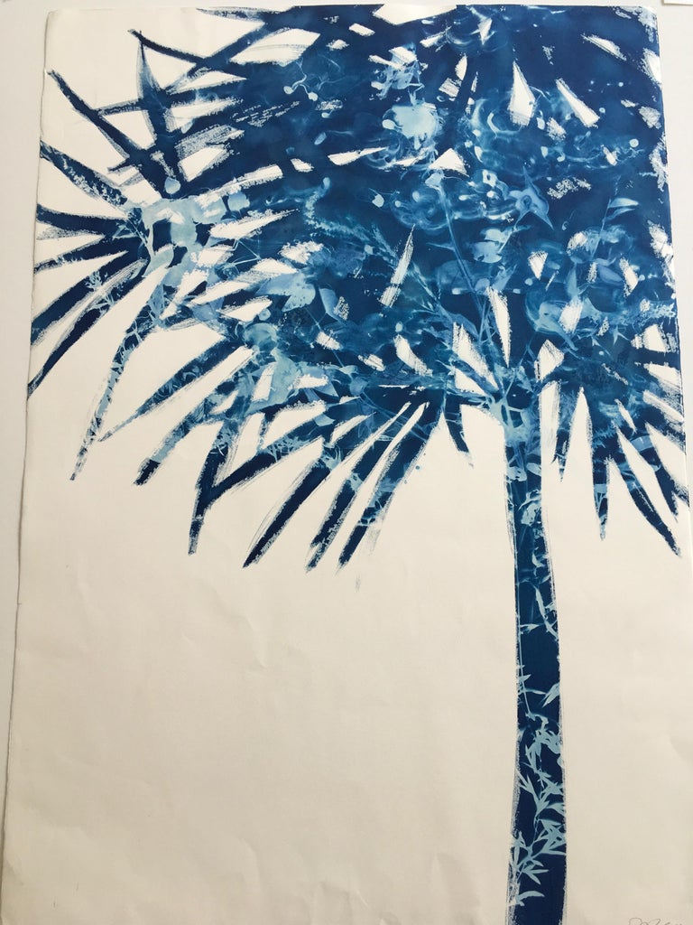 Cynthia MacCollum Landscape Print - Palmetto, Botanical Cyanotype, Work on Paper, Blue
