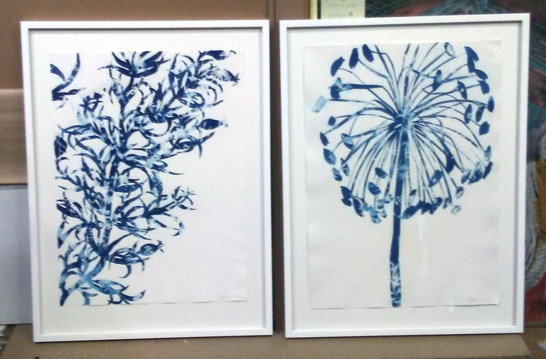 Stance, Rinsed Print Monotype, Botanical work on paper, Dark Blue, One of a kind For Sale 2