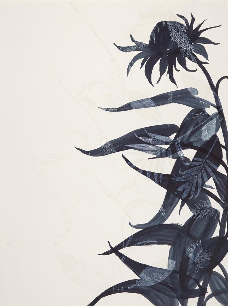 Cynthia MacCollum Landscape Print - Stance, Rinsed Print Monotype, Botanical work on paper, Dark Blue, One of a kind