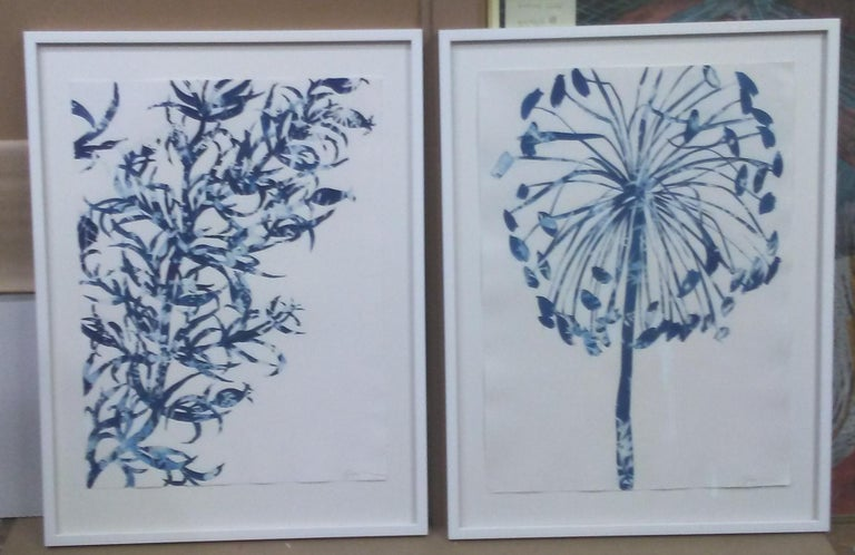 Waltz, Botanical, work on paper, Cyanotype, Blue, Nature, monoprint, Original - Gray Landscape Painting by Cynthia MacCollum