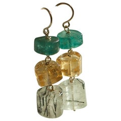 Cyntia Miglio Dangle Earrings with Semi-Precious Stones in 14 Karat