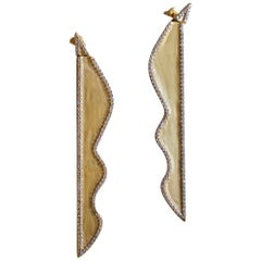 Cyntia Miglio Dangling Earrings with White Topaz Pave