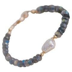 Cyntia Miglio Labradorite Bracelet with Freshwater Pearl