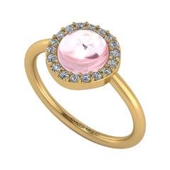 Cyntia Miglio Rose Quartz Cabochon Ring with Pave Diamond Setting in 10K Gold