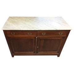 Cypress Sideboard with Carrara Marble, Original Tuscan from 1900 Walnut Color
