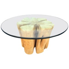 Cypress Wood Tree Trunk Coffee Table