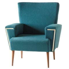 Cyprus Armchair with Turquoise Velvet Fabric