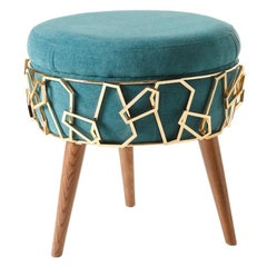 Cyprus Stool with Turquoise Velvet Fabric