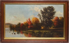 Antique Hudson River School Fall Landscape Oil Painting by Cyrenius Hall