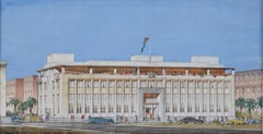 Cyril Farey Architectural perspective drawing Design for Bank of India Aden