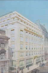 Cyril Farey: Design for an Art Deco Office building Architectural  perspective