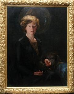 Portrait of a Woman - British 1919 art female portrait oil painting locket