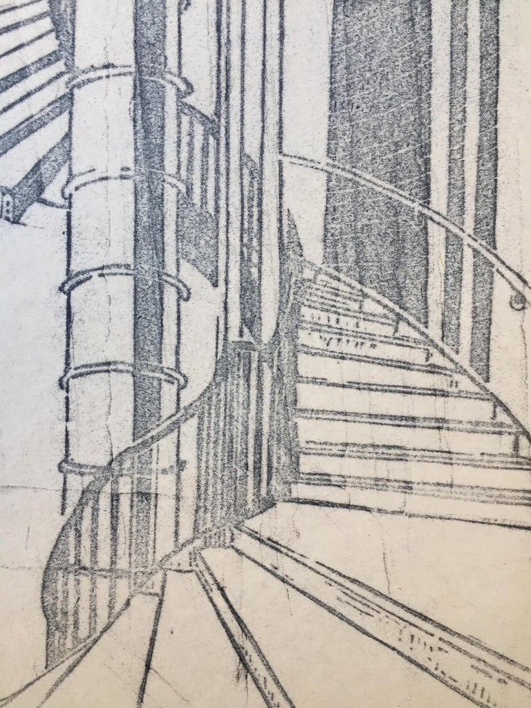 "CYRIL POWER   (1874 - 1951)            THE TUBE STAIRCASE, 1929 (Coypel CEP 11)           Linocut, a likely unique proof impression of the key block in reverse, suggesting a counterproof.            Unsigned.  17  ½"" x 10"", sheet 20 x 14 ¾"". On a"