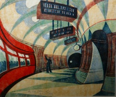 """Tube Station"" 1932 Grosvenor School Vorticist Linocut Art Deco Print Modernism"