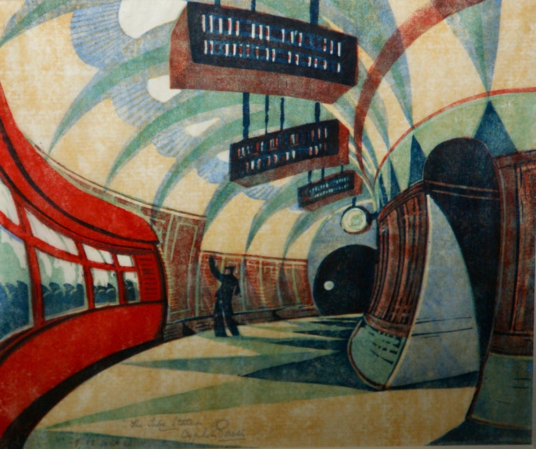 """Tube Station"" 1932 Grosvenor School Vorticist Linocut Art Deco Print Modernism.  Cyril Power (British, 1872 – 1951) ""The Tube Station,"" 1932 (Coppel CEP 32). Linocut. 10 1/16 x 11 5/8 inches. Signed, titled and numbered 39/60 USA edition lower"
