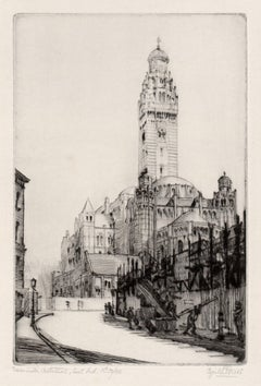 Westminster Cathedral, East End, London. Drypoint by Cyril Power, circa 1920